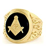 14k Solid Yellow Gold Oval Onyx Masonic Mens Ring (Style# 2102) - Size 13