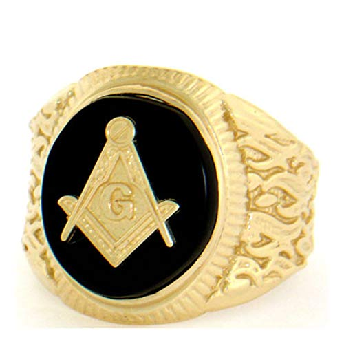 14k Solid Yellow Gold Oval Onyx Masonic Mens Ring (Style# 2102) - Size 13 14k Gold Oval Onyx Ring