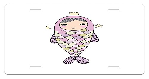 Ambesonne Mermaid License Plate, Fantasy Sea Life Mythological Character Girl in Fish Costume with Crown Moon Stars, High Gloss Aluminum Novelty Plate, 5.88