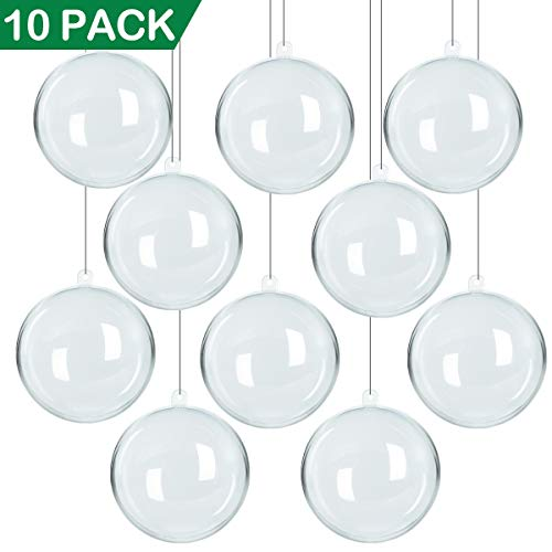 NEWBEA 10 PACK 80mm Plastic Clear Fillable Christmas Ornaments-DIY Acrylic Ornament Balls for Christmas Tree Decorations/Christmas Party Favor /Wedding Decor for $<!--$16.99-->