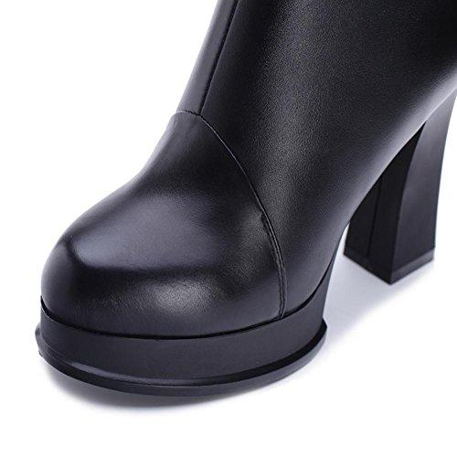 todo desgaste HFour el de Seasons alta red al de mujer botas Women resistencia Rojo gris grueso negro antideslizante XIAOGANG goma y ayuda 40 rhinestone cuero H gqwC00