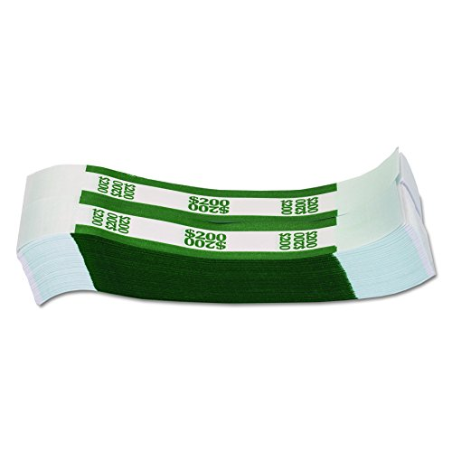 MMF Industries Currency Straps, Green, $200 in Dollar Bills (Pack of 1000 Bands), 400200