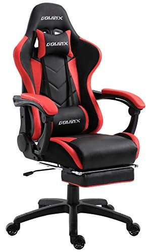 Dowinx Gaming Chair Ergonomic Racing Style Recliner with Massage Lumbar Support, Office Armchair for Computer PU Leather E-Sports Gamer Chairs with Retractable Footrest (Black&Red) Review