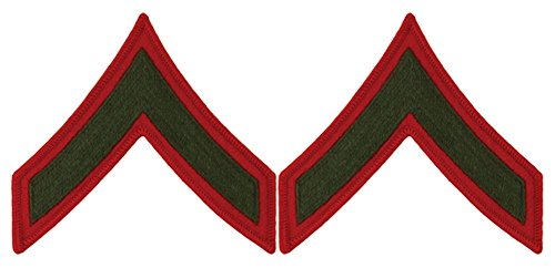 Green on Red USMC Chevrons - Private First Class - Male ()