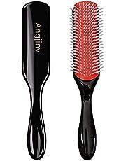 9-Row Cushion Nylon Bristle Classic Styling Brush - Hair Brush for Blow-Drying & Styling – Detangling, Separating, Shaping & Defining Curls