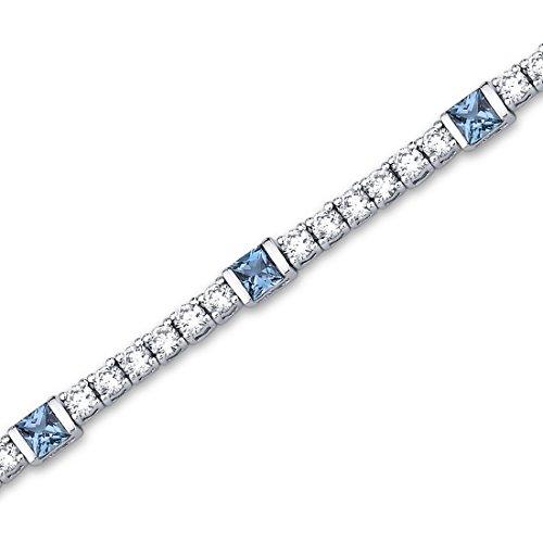One of a Kind Design 2.50 carats Princess Cut London Blue Topaz & White CZ Gemstone Bracelet in Sterling Silver Rhodium Nickel Finish