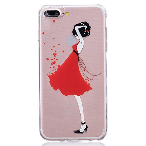 [iPhone 7 Plus Case,Speedup [Ultra Thin] [Scratch-Resistant] Clear Soft TPU Gel Skin Case,Cute Cartoon Dolphin Penguin Flower Fairy Print Silicone Case for iPhone 7 Plus (Red Dress] (1980s Dress)