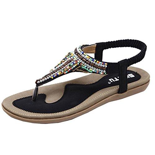 féminines Plein Noir Tingtingbin Sandales Sandales De Occasionnels Plat Air Femmes Toe Open Chaussures Chaussures Sandales Femmes USw5Sq