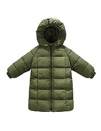 Baby Girls Down Coats Long Outwear Winter Hooded Jackets 1-8T