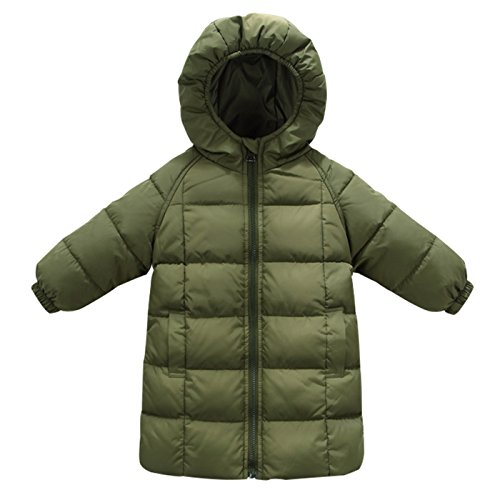 Happy Cherry Unisex Kids Down Long Jackets Winter Puffer Outerwear Lightweight Long DownCoat with Hat 4-5T Green ()