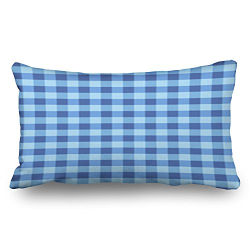 YeaRuRu Throw Pillow Covers Blue White Seamless Tablecloth Airy Textures Gingham Checked Home Decor Pillow Cases 20x36 Inches Rectangular Cushion Case Decorative Pillowcase -