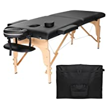 GREENLIFE PROFESSIONAL PORTABLE WOODEN 2 SECTION MASSAGE REIKI FACIAL TABLE (Black)(FREE Shipping)