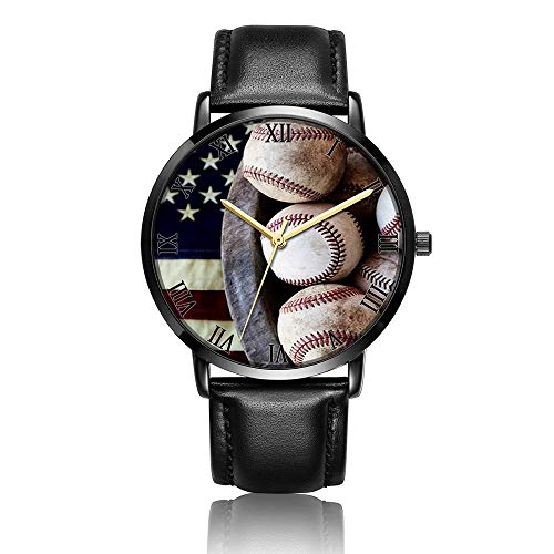 Whiterbunny Customized Baseball and Flags Wrist Watch Unisex Analog Quartz Fashion Black Leather Bracelet Wristwatch for Women and Men