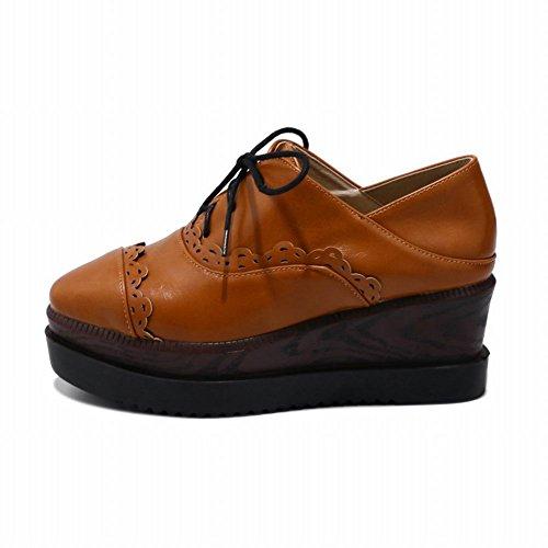 Latasa Dames Platform Wedge Oxford Schoenen Donker Geel