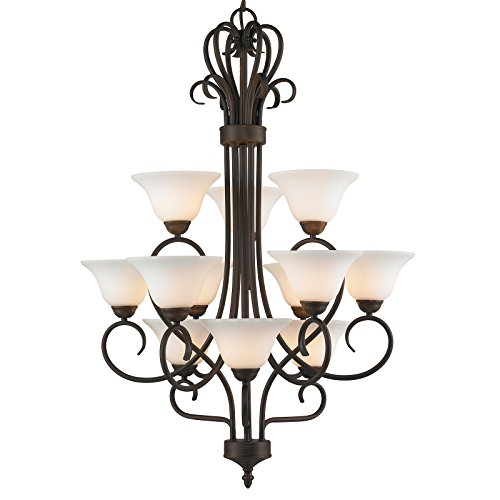 Golden Lighting 7623 RBZ-OP Chandelier with Opal Glass Shades, Rubbed Bronze Finish