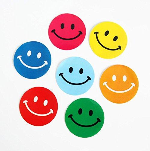 Lezed Emoji Smiley Pegatina Colorido Etiqueta Sonrisa Pegatina Emoji Etiquetas Smile Redonda Escuela Familia Fiesta de Ni/ños Decoraciones Regalos de Navidad para Ni/ños 3.8*3.8CM 1 Rollo 100 Pcs