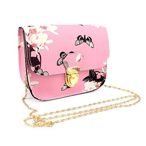 Rokment Women Shoulder Bag, Butterfly Flower Printing Handbag Tote Messenger Bag (Pink)