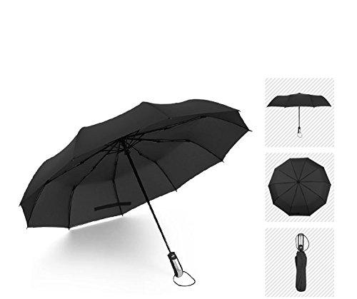 Dix Parapluie Automatique en Forme de Parapluie Pour Hommes Et Femmes Parapluie à Double Usage Doublé à Double Ventre Trois Fois,Noir,23 pouces