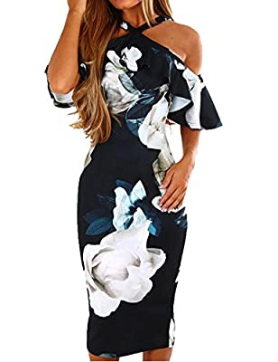 Murimia Womens Summer Cold Shoulder Strap Ruffle Floral Midi Dress