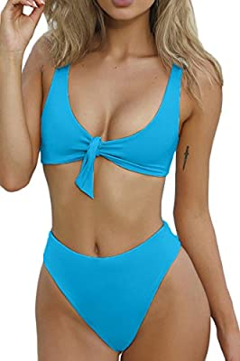 QINSEN Womens Tie Knot Front High Waist Thong Bandage 2PCS Bikini Sets Beachwear