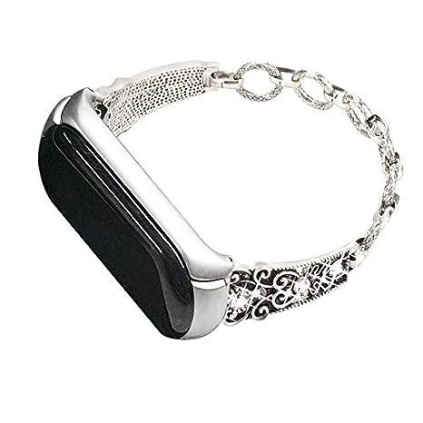 Amazon.com: Lannmart Replacement Watch Accessories Suitable for Xiaomi Band Mi 3 Wrist Screwless Steel Metal Frame Wriststrap Folding Buckle for Xiaomi Mi ...