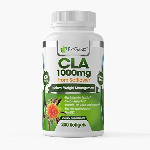 BioGanix CLA 1000 mg Safflower Oil - Belly Fat Burner and Weight Loss Supplements - Metabolism Booster, Muscle Mass Enhancement - Gluten Free, Non-GMO - Conjugated Linoleic Acid Pills - 200 Softgel