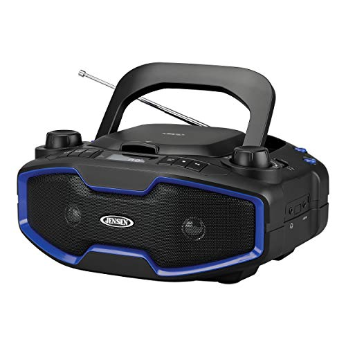 ortable Sport Stereo Boombox CD/MP3 Player with Digital AM/FM Radio LCD Display with Built-in Rechargeable Battery & Aux-in & Headphone Jack (Black/Blue) (Limited Edition) ()