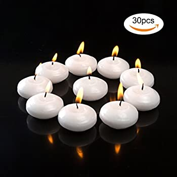 Salare 30PCS Floating Disc Candles Unscented 1.5 Inch White Water Floating Candles for Wedding, Birthday, Holiday & Home Decoration,30 Pieces