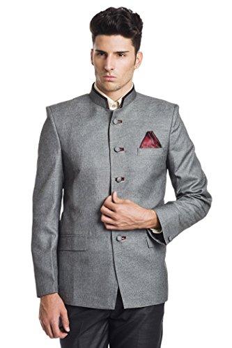 WINTAGE Men's Linen Blend Bandhgala Nehru Mandarin Blazer - Grey,44 Regular