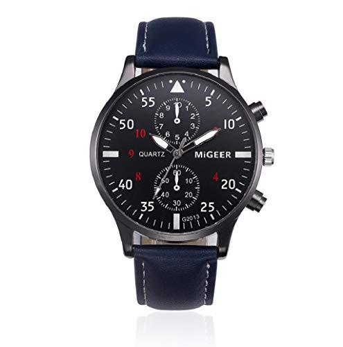 Men's Leather Strap Watch, JHKUNO Aviation Watch Dial Quartz Chronograph Waterproof Watches Business and Sport Design Wrist Watch (Blue) ()