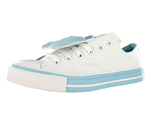 Converse Women's Chuck Taylor Double Tongue Ox White/Blue Ankle-High Canvas Fashion Sneaker - 5M (Shows Converse)