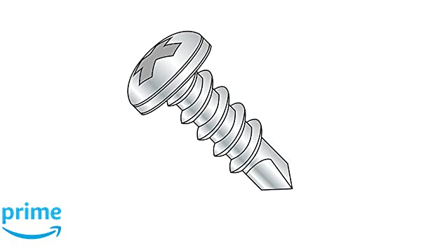 1-1//4 Length Zinc Plated Finish Steel Self-Drilling Screw Phillips Drive Pack of 50 #12-14 Thread Size #3 Drill Point Pan Head