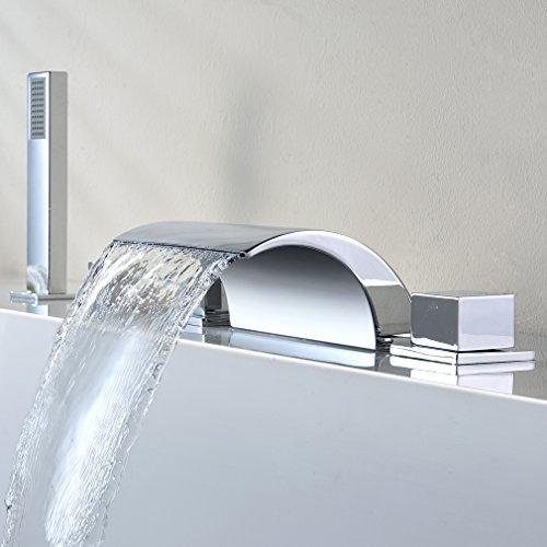 KINSE® Zeitgenössig 5 Löcher Montage Duschsystem Brauseset Wannenbatterie Badewannenarmatur inkl. Handbrause & Badewannenarmatur