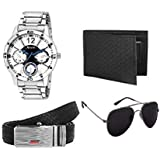Arum Analogue Watch Men Accessories Combo | Men's Black Wallet with Analogue Watch,Belt & Sunglass - Combo Pack