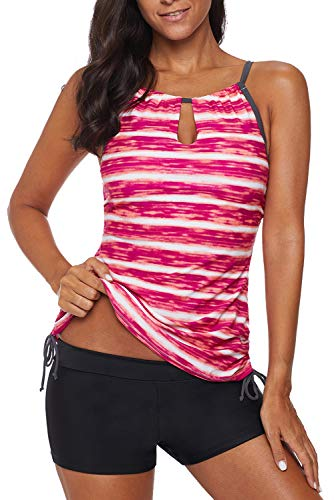 REKITA Womens Stripe Printed Tankini Top with Boyshort Swimsuits Bathing Suits Red (Boy Swimsuits Short Women For)