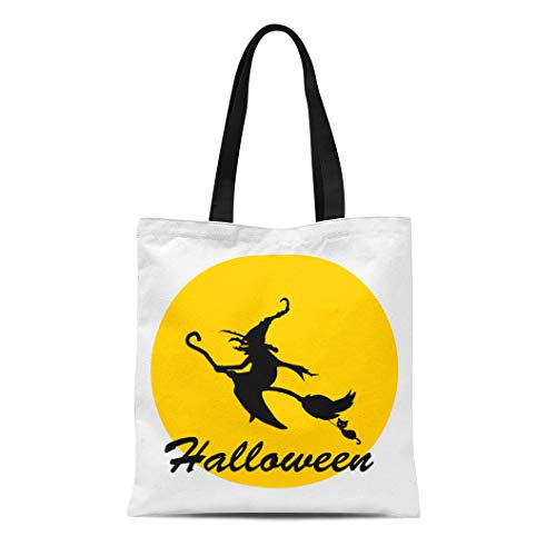 (Semtomn Canvas Tote Bag Black Halloween Witch Broomstick Cartoon Cat Celebration Character Dark Durable Reusable Shopping Shoulder Grocery)