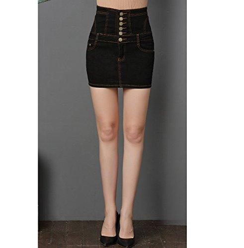 Sexy Haute Courte Eté Crayon Devant Jupe Slim Oudan Boutonnée Noir Mini Taille Jean Femme En Sqc4RL35Aj