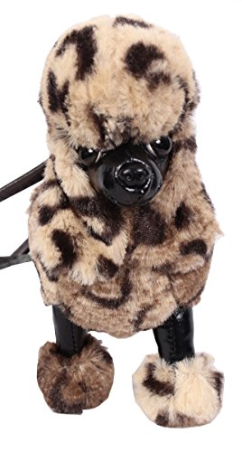FuzzyNation Poodle Dog Small Wristlet Zip Coin Purse Plush 7
