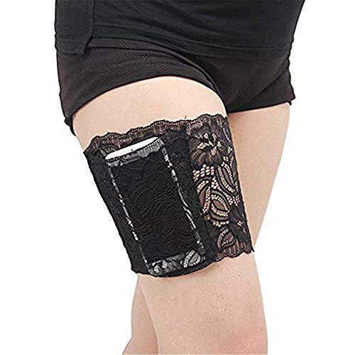 VIEEL Womens Lace Non-Slip Concealed Thigh Holster Thigh Garter with Purse Phone Security Pockets (Black-M) ()