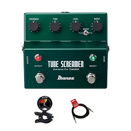 (Ibanez TS808DX Tube Screamer Booster/Overdrive Guitar Pedal KIT With Guitar Clip On Tuner and Instrument Cable Bundle)