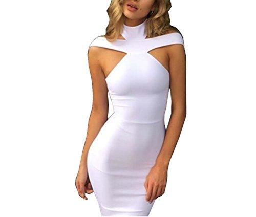 Strapless Bandage - Tuesdays2 Women's Sexy Strapless Halter Bodycon Midi Dresses (S, White)