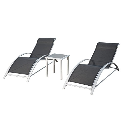 PatioPost Chaise Lounge Outdoor Patio Poolside Textilene Chair 3 Pc Set w/ Side Table, Grey (Modern Patio Lounge Chair)