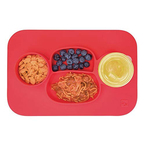 - mDesign Silicone Mealtime Plate and Placemat for Babies, Toddlers, Kids - BPA Free, Food Safe � Stays in Place � 4 Sections - Microwave and Dishwasher Safe, Fun Monkey Design, Large, Cherry Red