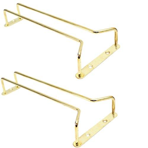 Set of 2 Wine Glass Wire Hanger Racks, Brass Plated (24 Inch) - Brass Glass Hanger Rack