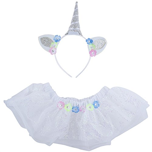 Lux Accessories Halloween Flower Unicorn Baby Girl Infant Size Costume Set 2PC ()
