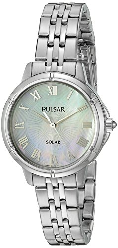 Pulsar Water Resistant Wrist Watch (Pulsar Women's 'Ladies Dress Solar' Quartz Stainless Steel Dress Watch (Model: PY5005))