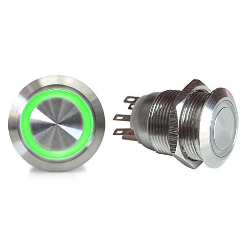 AutoLoc Power Accessories 503 19mm Momentary Billet Button with LED Green Ring (Billet Interior)