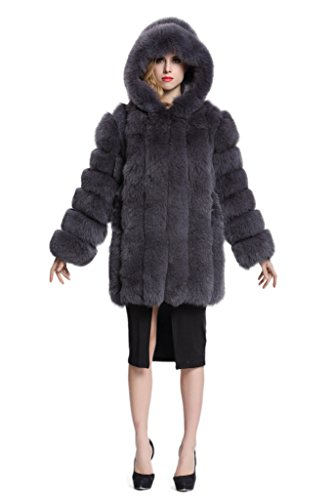 Topfur Women's Coat Fox Fur Overcoat With Dark Gray Hat Winter Outerwear(US 4) by TOPFUR