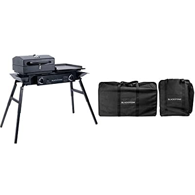 Blackstone Grills Tailgater - Portable Gas Grill and Griddle Combo - Barbecue Box - Two Open Burners – Griddle Top - Adjustable Legs - Camping Stove Great for Hunting, Fishing, Tailgating and More