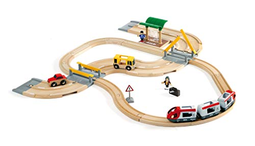 (BRIO World - 33209 Rail & Road Travel Set | 33 Piece Train Toy with Accessories and Wooden Tracks for Kids Ages 3 and)